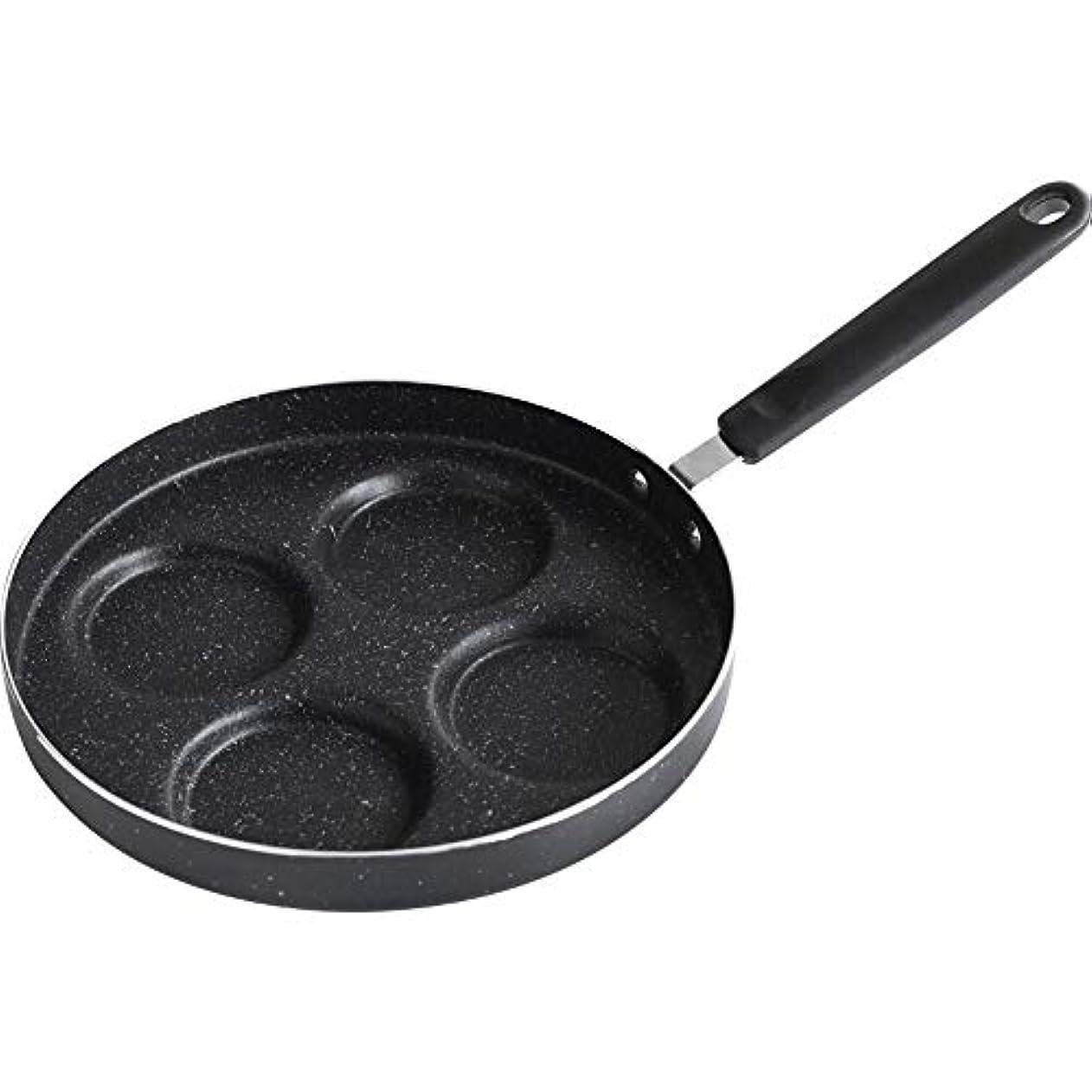 危険にさらされているいつかまっすぐにする鍋 キッチン24 Cm Maifan Stoneノンスティックパンミニ4穴フライパンハンドルオムレツDu子朝食用ポット電磁調理器ガスストーブに適しています (Color : Black)