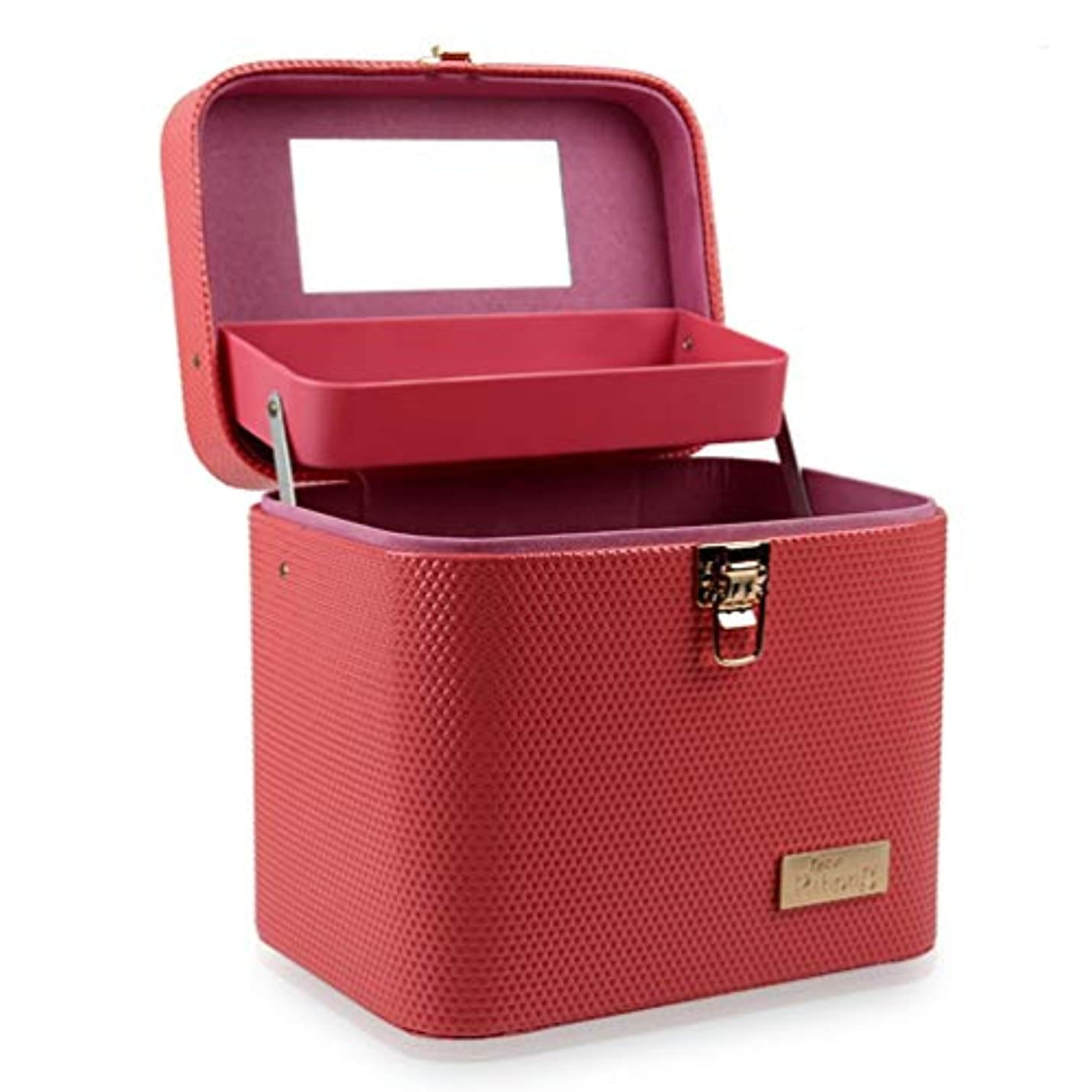 ディスク通信網件名[カタク]メイクボックス コスメボックス 大容量 鏡付き 2段タイプ 化粧ボックス おしゃれ 取っ手付 携帯便利 化粧道具 メイクブラシ 小物 出張 旅行 機能的 PUレザー プロ仕様 化粧ポーチ コスメBOX