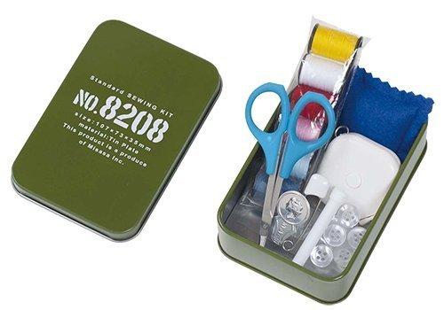 ミササ 裁縫セット ソーイングセット カーキ ミニブリキ缶 8208