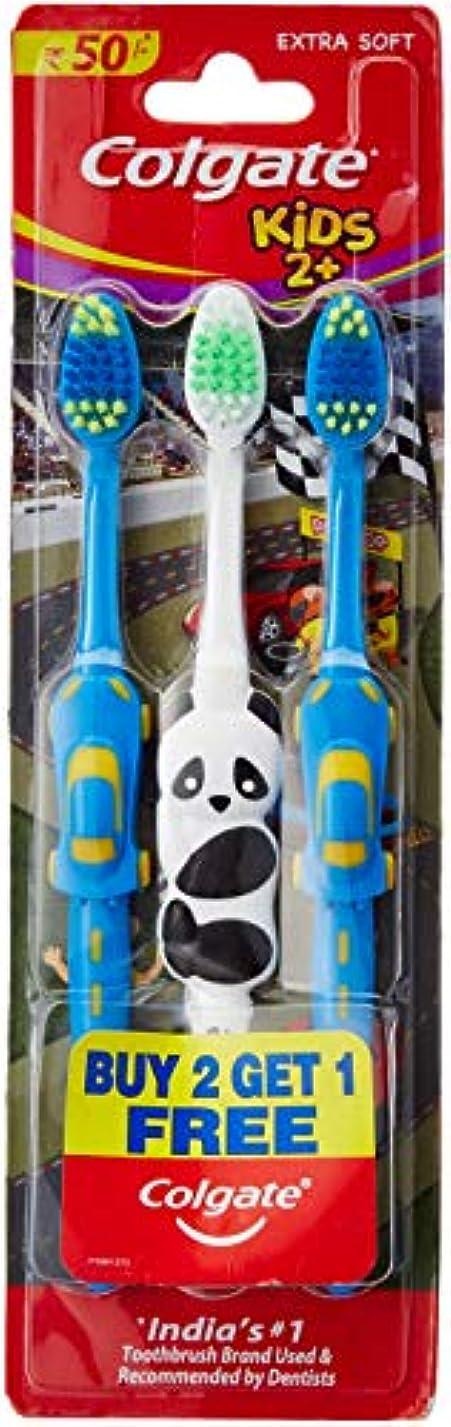 消毒剤泥だらけ飼い慣らすColgate Toothbrush for Kids 2+ (Pack of 3) Color May Vary