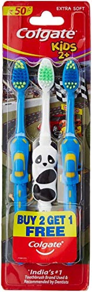 ランチョン路面電車精度Colgate Toothbrush for Kids 2+ (Pack of 3) Color May Vary
