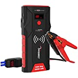 ROOBOOST 1500A Peak 12V Portable Car Jump Starter Pack with Qi Wireless Phone Charger Power Bank (Up to 7.0L Gas and 5.0L Diesel Engine) High Speed Quick Charge 3.0 Auto Battery Booster Digital Smart Jumper Cable 18000mAh Power Bank Built-in LED Light, 2 Yr Warranty.