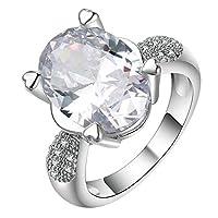 JK Home リング 指輪 婚約指輪 レディース オシャレ ファッション プレゼント 彼女 ジルコニア シルバー+透明 約16号