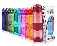 HoneyHolly ボトル 水筒 スポーツウォーターボトル - 400ml-1リットル、BPAフリー 直飲み 漏れ防止 プラスチック水筒 アウトドアボトル 子供 女の子 自転車用 登山用 ジム水筒 ヨガ用 登校用 旅行など( 光沢濃い赤-400ml)