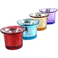 N-hilfe キャンドルグラス 4個セット カップ ガラス (赤,金,青,紫)
