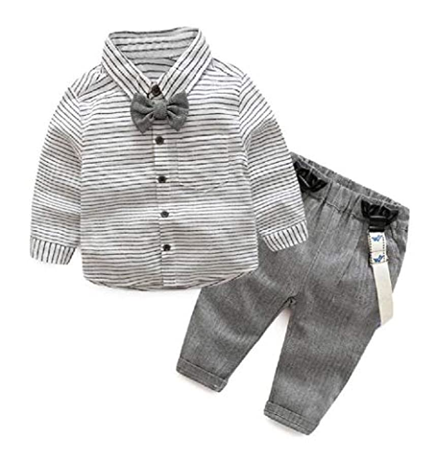 アナログ出くわす追加Romancly Boy's Striped Gentleman 2 Pieces Set Suspender Shirt Outfits Suits Set