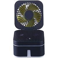 SHANGRUIYUAN-Mini Fan Foldable Mini Multifunction Fan Cute Square Shape Fan USB Rechargeable Summer Fan Portable 3 Speed Fan (Color : Black)