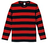 (ユナイテッドアスレ)UnitedAthle 5.0オンス ボールドボーダー 長袖Tシャツ 551901 2050 ブラック/レッド L