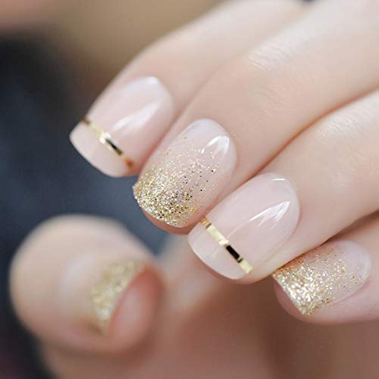 オーバードロー晩ごはん金属XUTXZKA ファッションショートネイルのヒント偽の爪ゴールドキラキラ人工プレス偽の爪に飾られたフルカバー