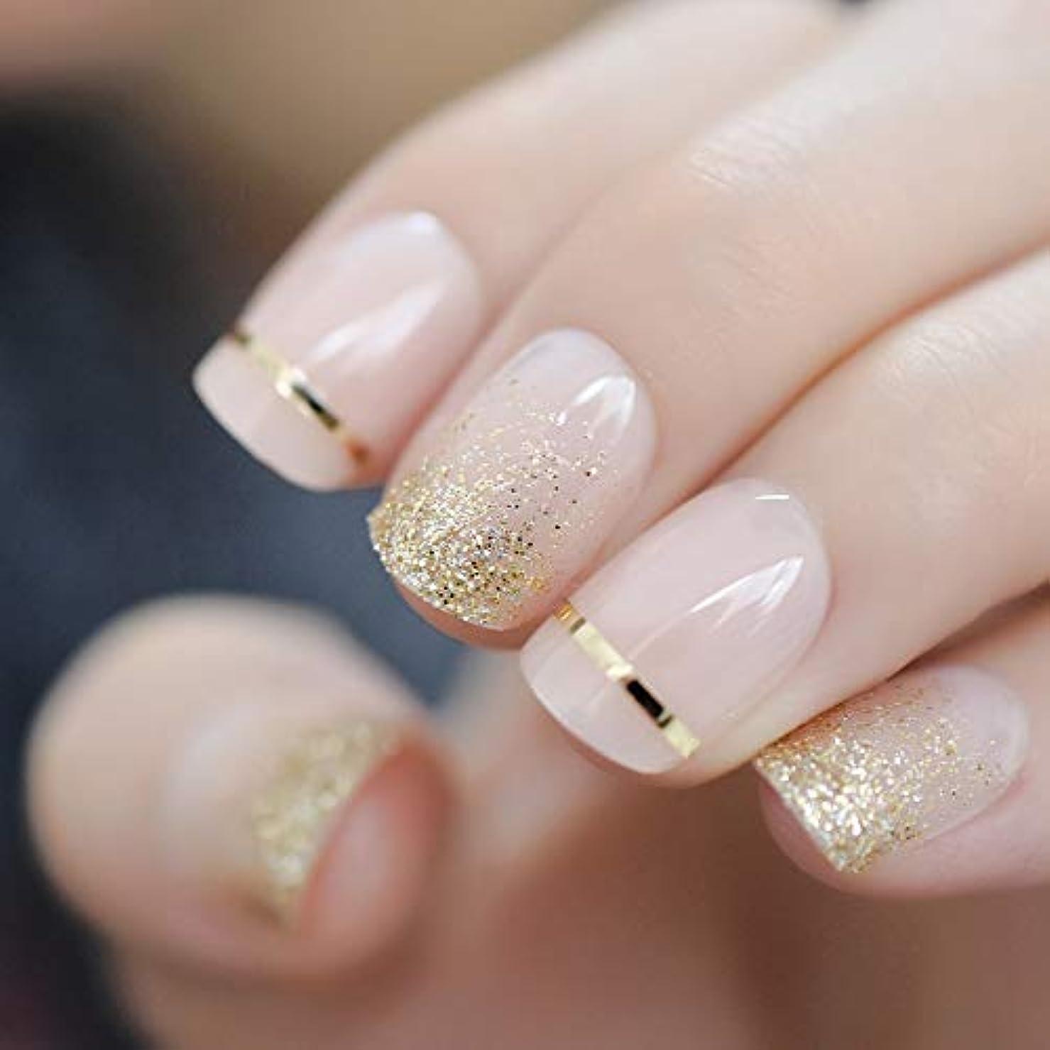 退屈な加速度スタイルXUTXZKA ファッションショートネイルのヒント偽の爪ゴールドキラキラ人工プレス偽の爪に飾られたフルカバー