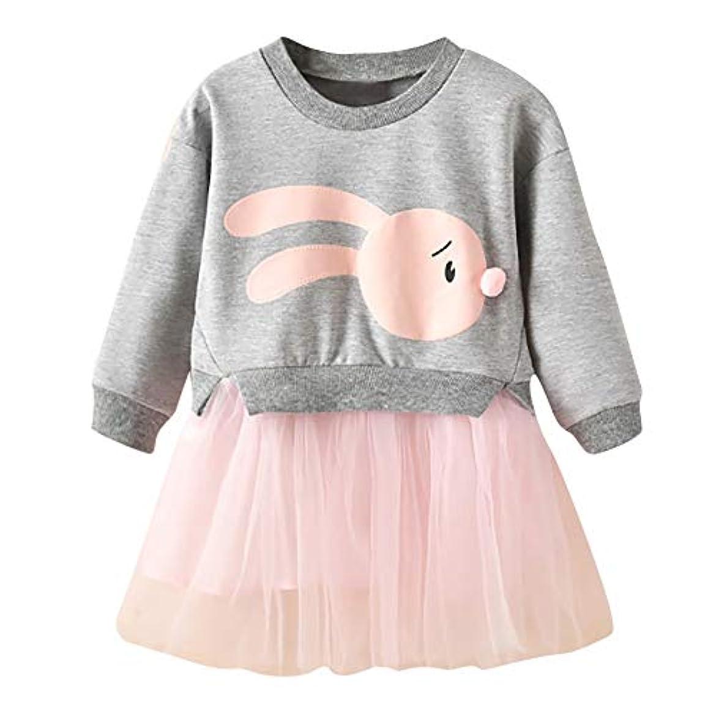 誘う移動する島Onderroa - 冬の子供服の女の赤ちゃんの漫画のバニープリンセスパッチワークトレーナーチュールドレス服roupaのinfantil