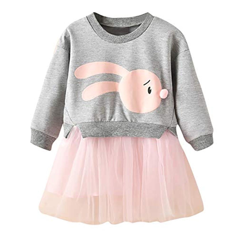 爆発香り証明するOnderroa - 冬の子供服の女の赤ちゃんの漫画のバニープリンセスパッチワークトレーナーチュールドレス服roupaのinfantil