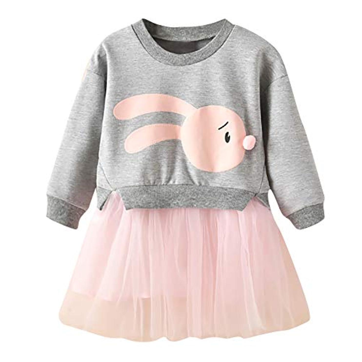 舗装する容赦ない可能性Onderroa - 冬の子供服の女の赤ちゃんの漫画のバニープリンセスパッチワークトレーナーチュールドレス服roupaのinfantil