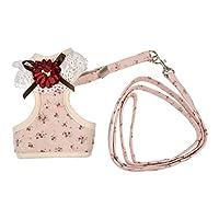お花付き ベスト ハーネス リードセット 犬用 ペット ドッグ ドッグウェア 首輪 胴輪 (S, ピンク)
