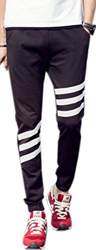 (シャンディニー) Chandeny スリムシルエット スエット ジョガーパンツ メンズ 3本ライン ロング パンツ ジャージ ルームウエア 16525 ブラック 3XL サイズ
