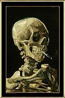 ポスター フィンセント ファン ゴッホ Skull with Burning Cigarette 額装品 アルミ製ベーシックフレーム(ゴールド)