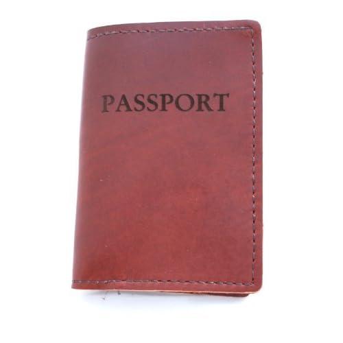Rustico Genuineレザーパスポートホルダー、サドルブラウン
