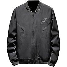 Howme Men's Zip Up Comfy Long-Sleeve Regular-Fit Fashion Wild Varsity Jackets