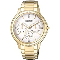 Citizen Women's Solar Powered Wrist Watch analog Display and Stainless Steel Strap, FD2032-55A