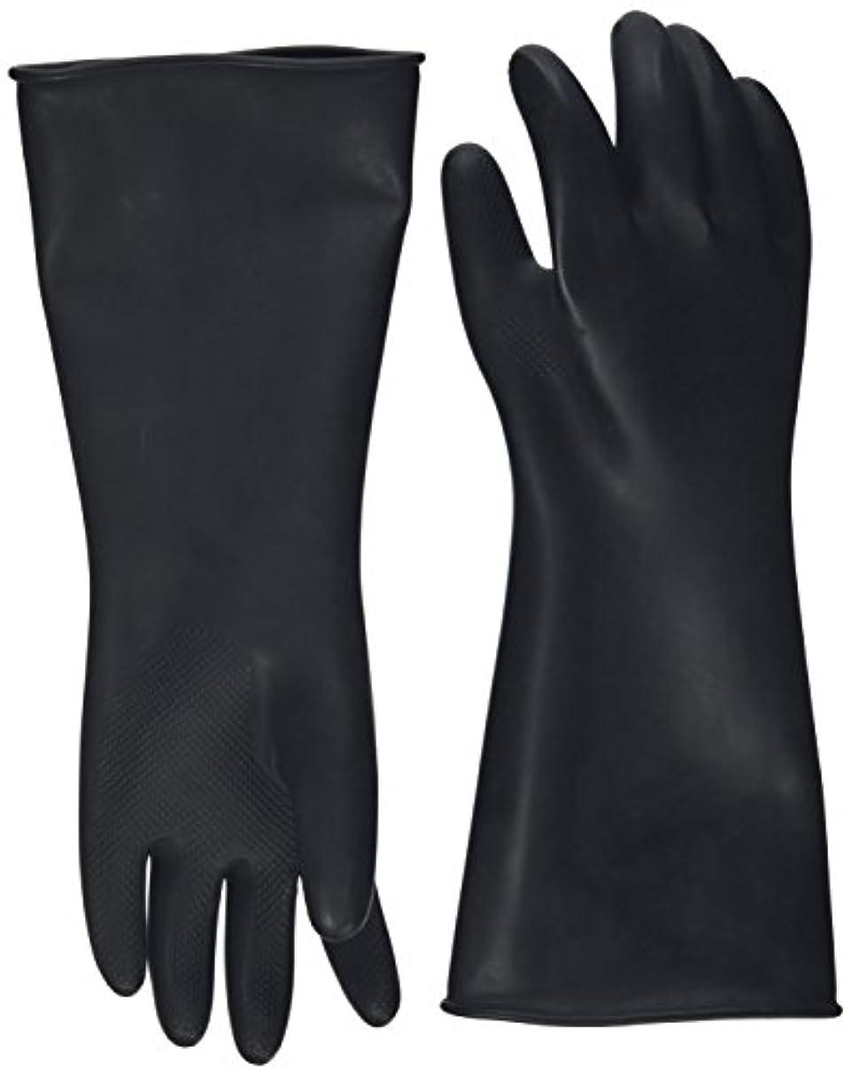 因子怖いエーカーハナキゴム 工業用手袋ハナローブ No.436 滑り止め付き曲指型 ブラック