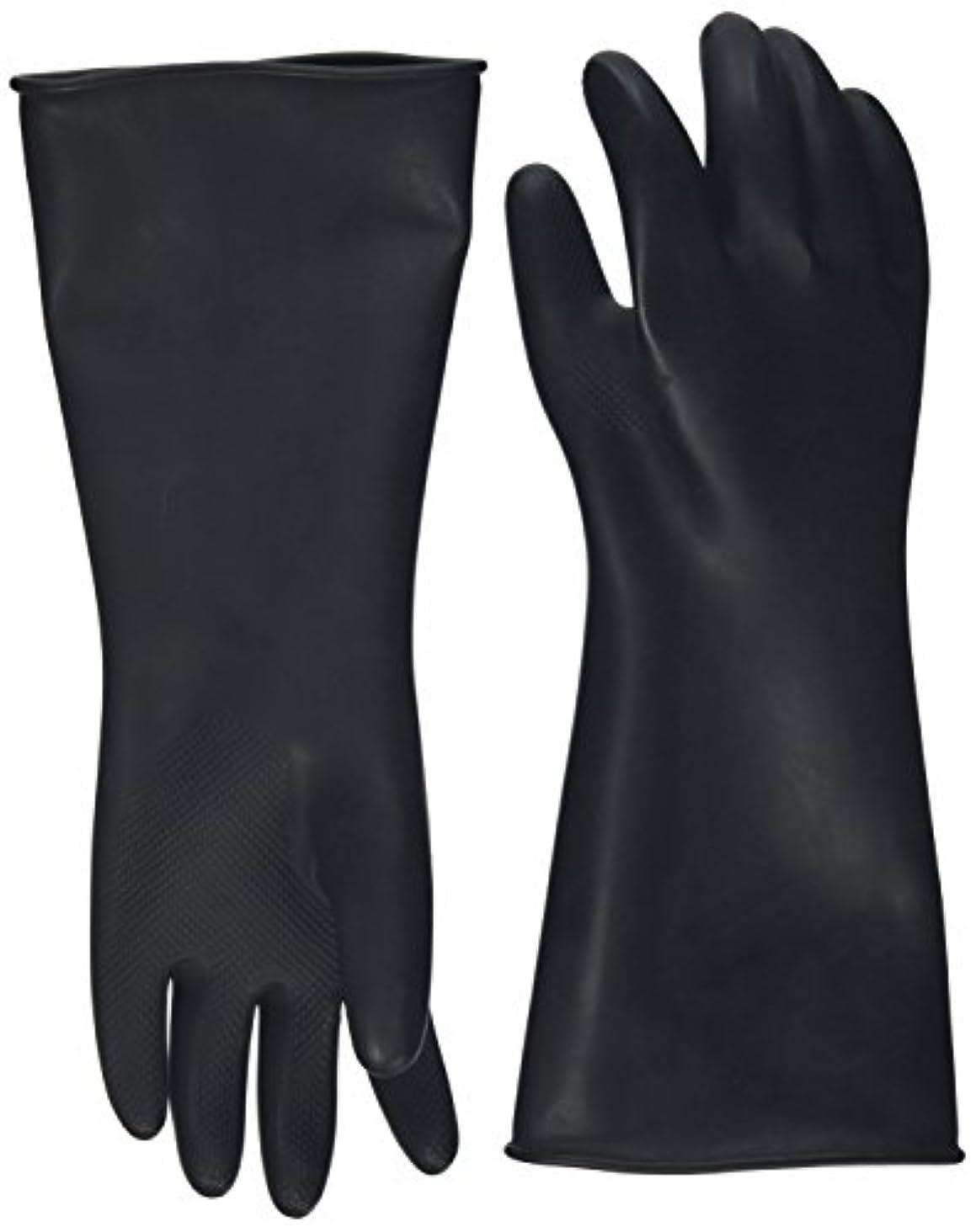 アルコーブ感覚にやにやハナキゴム 工業用手袋ハナローブ No.436 滑り止め付き曲指型 ブラック
