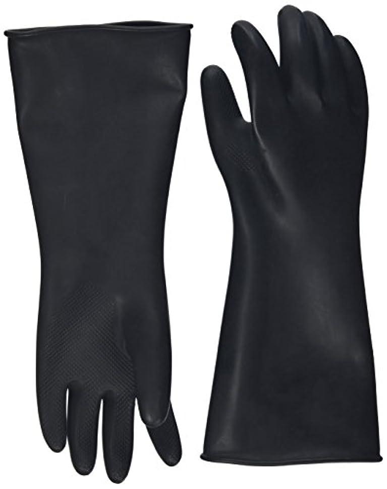 無許可取り戻すコックハナキゴム 工業用手袋ハナローブ No.436 滑り止め付き曲指型 ブラック