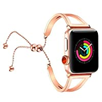 アップルの腕時計のバンド,ファッションの 高貴な 新金 女性 独特の 鮮やかな ステンレスのブレスレット交 換可能 バンド ベルトの Apple Watch 38mm 42mm (バラの金 38mm)