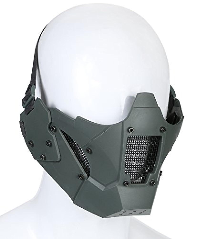 next.design ハーフ メッシュ フェイスマスク 強化プラスチックTPE製 ファストヘルメット取付けアタッチメント付 (グレー)
