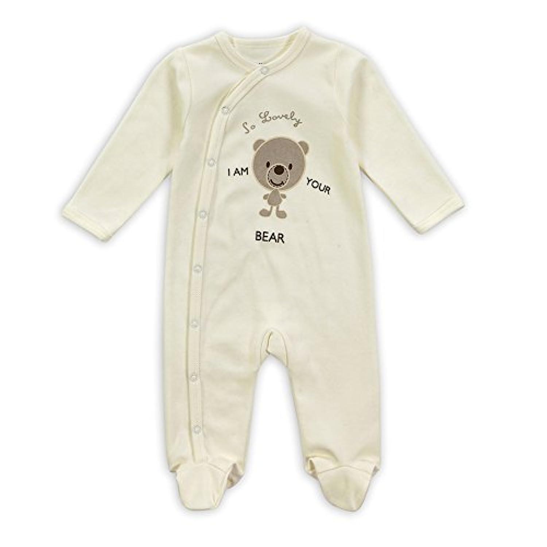 エルフ ベビー(Fairy Baby) 足つきロンパース ベビー服 つなぎ カバーオール 長袖 4-6M クマ柄 ベージュ