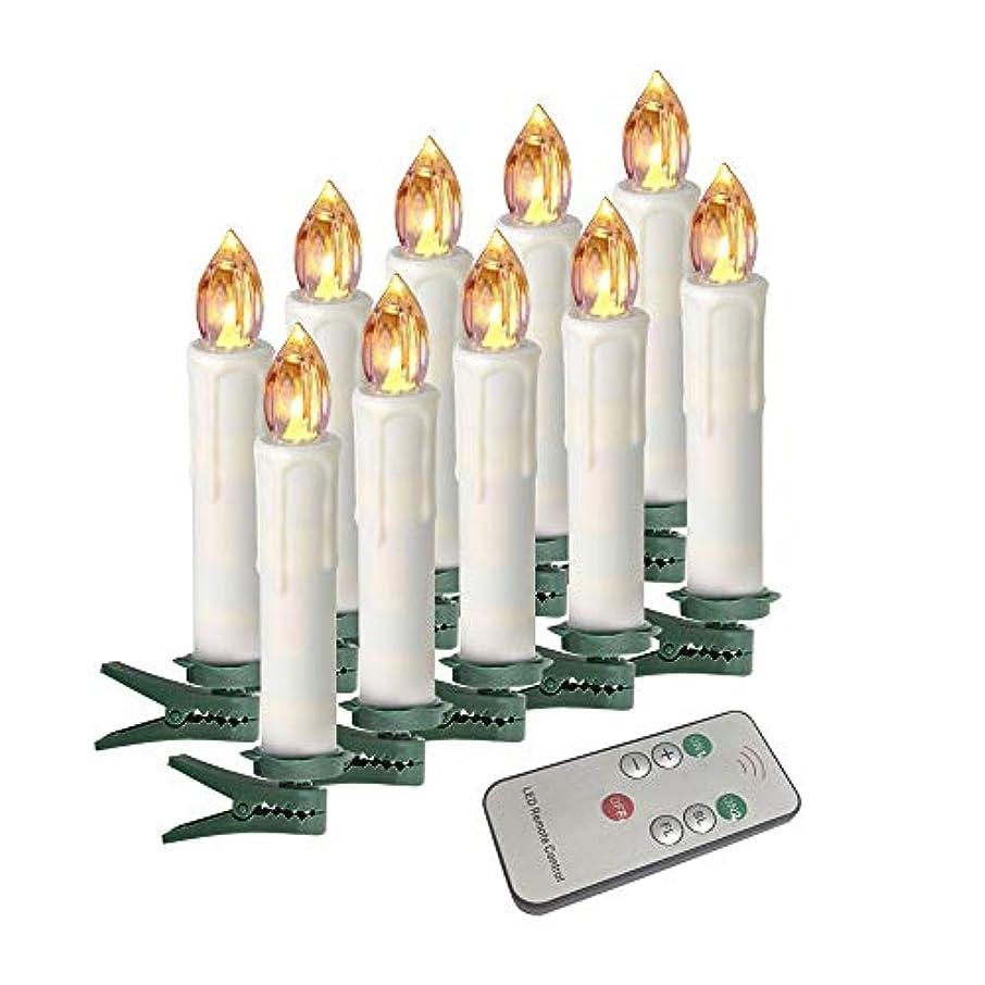 豊かなエージェント影響力のあるHoudlee LED 無炎テーパーキャンドル リモコンと取り外し可能なクリップ付き 揺らめく4インチバースデーキャンドル クリスマス/シャンデリア/ミニウェディングテーパーキャンドル 10個セット Warm White Taper Candles-Remote-10