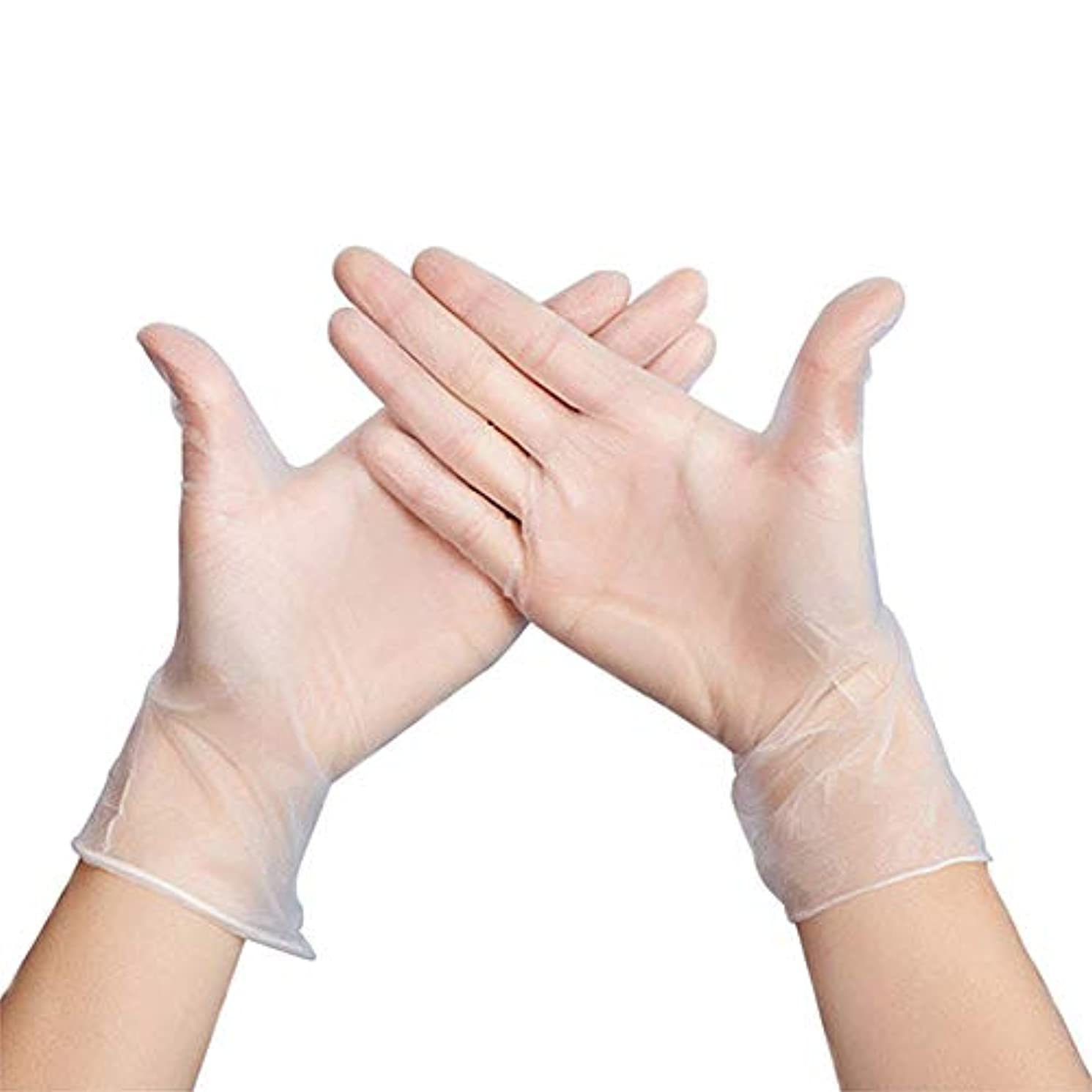 豚肉有効感情Geafos ニトリル使い捨て手袋、パウダーフリー、食品グレードの手袋、ラテックスフリー、100個 透明 size L