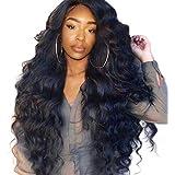 Summerys レディースウィッグ大きい波状の長い巻き毛のレースフロントかつら黒のための長い波状の合成かつら