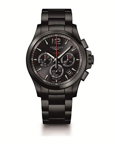 [ロンジン] 腕時計 コンクエスト V.H.P. クォーツ クロノグラフ パーペチュアルカレンダー ブラックPVD L3.717.2.56.6 メンズ 正規輸入品