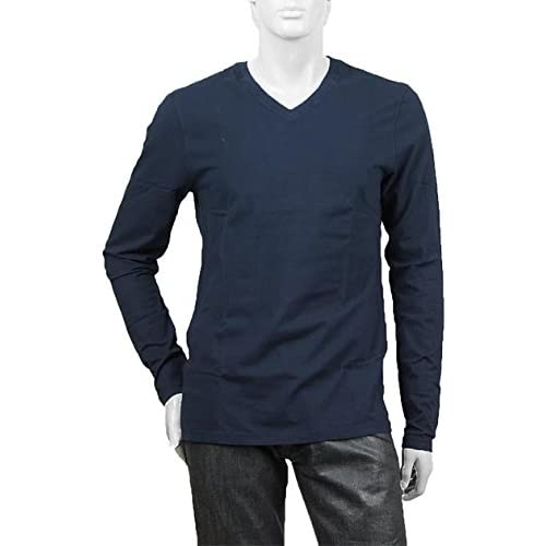 (スリードッツ) three dots Vネック長袖Tシャツ Sサイズ DEEP OCEAN ブルー系 [並行輸入品]