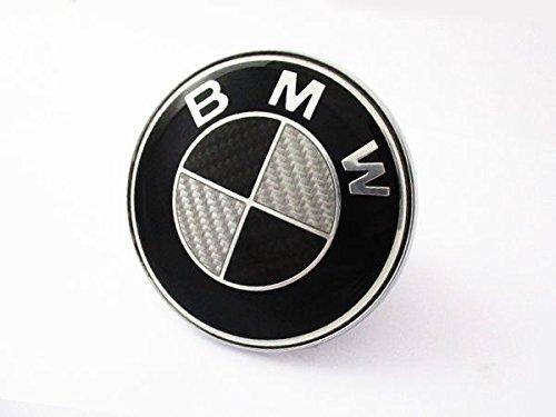 送料無料 BMW E36 E46 Z3 ブラック&シルバー リアルカーボン ボンネットエンブレム ボンネットバッチ