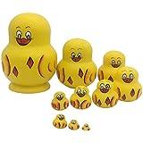 Dolity Yellow Ducks Russian Nesting Doll Babushka Matryoshka Stacking Dolls Set 10 Pieces Xmas Gift Christmas Decorations
