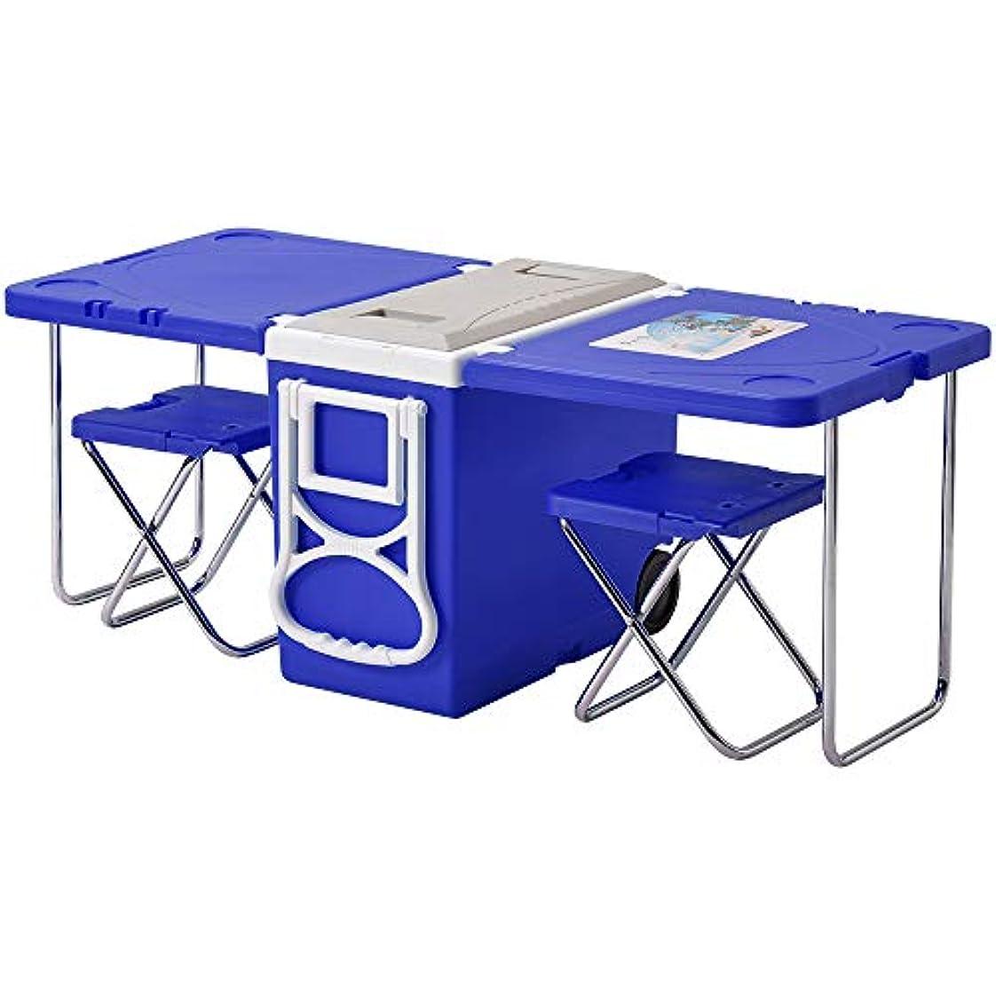 派手ビジターピクニッククーラーボックス テーブル イス付き キャスター付き 大容量 28L 折りたたみ 保冷バッグ アウトドア 屋外 キャンプ