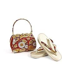 紗織謹製 草履バッグセット レディース金×赤×白 草履24.5cm ゴールド