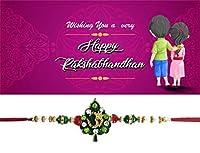 グリーティングカードの美しいストーン作業Rakhi内側for Rakshabandhan Festival。Rakhiスレッド/Rakhiブレスレット/ Rakhi for Brother、最高のギフトBrother On Rakshabandhan Rakhi Bands。。。 パープル Greeting Purple