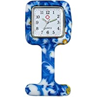 Women's Girls Nurses Clip-on Fob Brooch Lapel Blue Silicone Protection Cover Square Pocket Watch For Hospital Doctors
