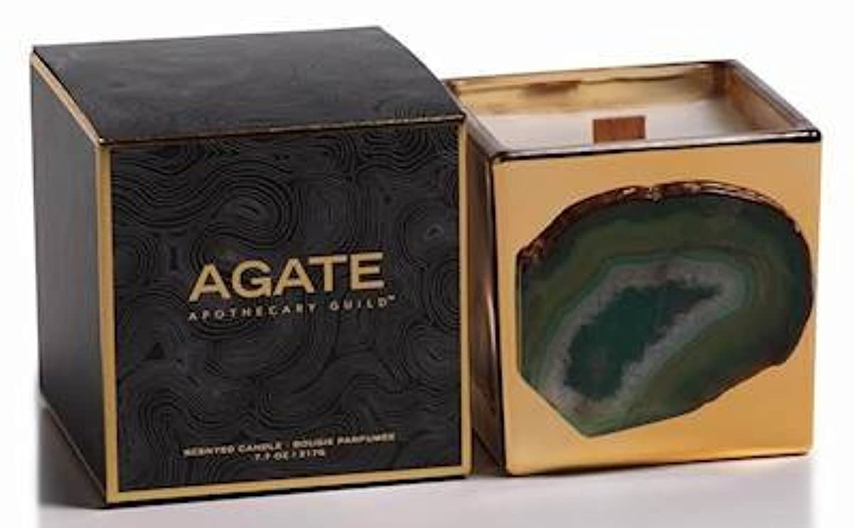 薄暗い地下室リボンZodax Agate Scented Candle Jar 50 Hours Burn Time- Siberian Fir (217gm / 7.7oz)