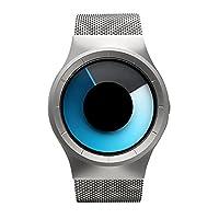 メンズ腕時計、クリエイティブ個性ファッションスパイラル超薄型防水ユニークなデザインCool Wrist WatchステンレススチールMesh Watch for Men–ブラック シルバー