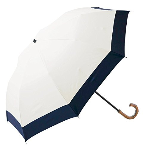 【Rose Blanc】100%完全遮光 日傘 コンビ(傘袋付) 2段折りたたみ 50cm (アイボリー×ネイビー)