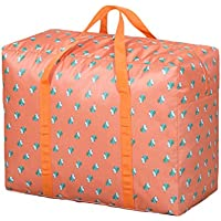 大規模なオックスフォード布保管袋オレンジパターン防水防湿折り畳み旅行オーガナイザーポータブル荷物ワードローブ服仕上げ整理キルト羽毛移動保管袋 (サイズ さいず : 75 * 35 * 50cm)