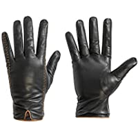 Genuine Leather Gloves for men, Lambskin Gloves Winter Warm Gloves Driving Gloves with Lines of Hit Color
