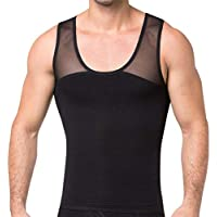 GSKS Mens Body Shaper High Compression Shirt for Hide Gynecomastia Chest Slimming Vest Elastic Shapewear Slimmer Undershirt
