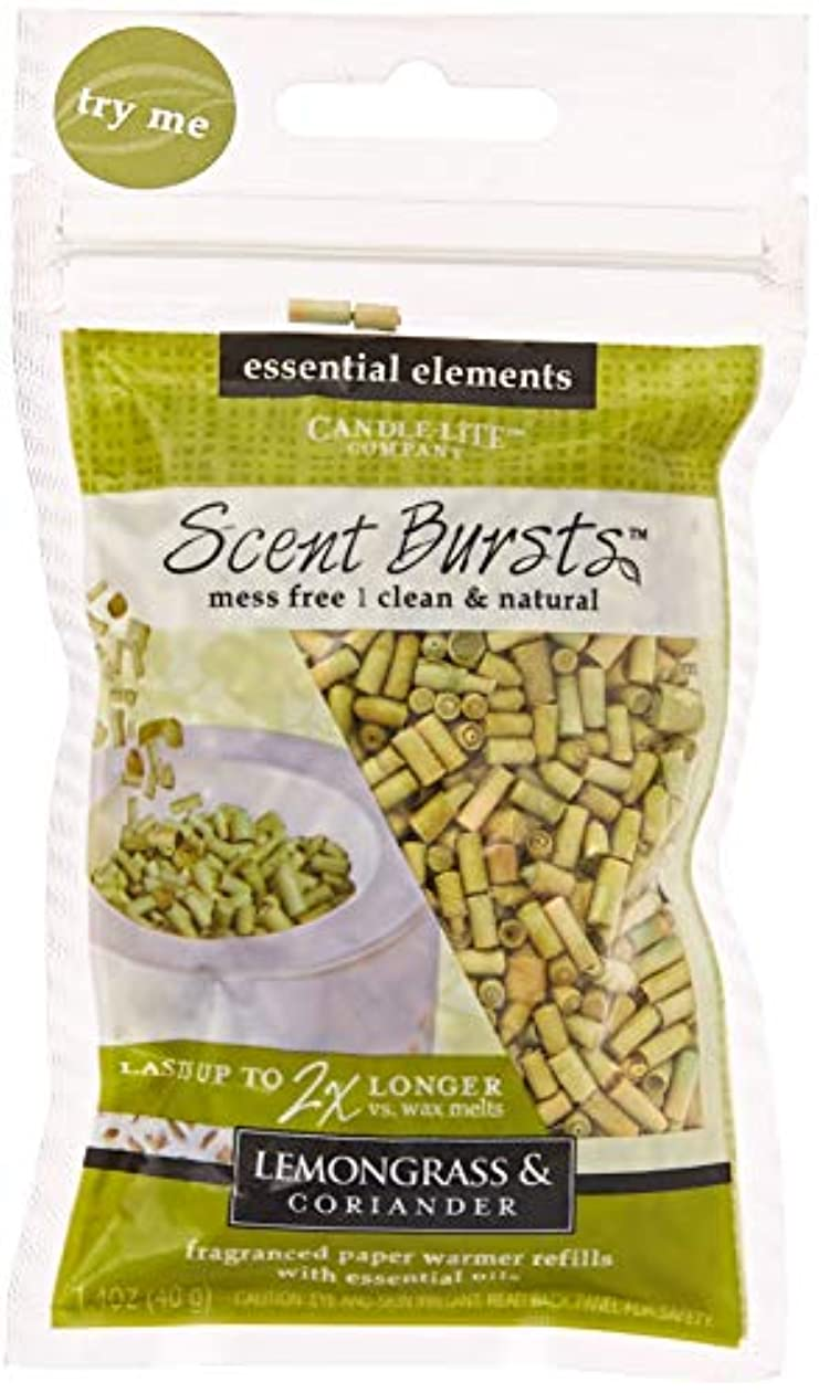 浸漬不適当エージェントcandle-lite Essential要素クリーン&ナチュラル香りバースト用紙Warmer Refillsより2 x長持ちワックス Lemongrass & Coriander 4 Pack グリーン