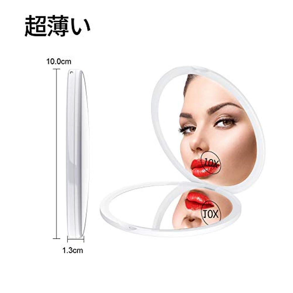 ミラー 鏡 10倍拡大鏡付 両面コンパクトミラー 拡大ミラー 両面化粧鏡 コンパクト拡大ミラー メイクミラー 携帯ミラー 両面鏡 折りたたみミラー 角度調整可 ホワイト Gospire