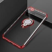 Jisoncase スマホケース iPhone8/iphone7 対応 リング付き 背面 クリア ストラップホール付き 耐衝撃 シリコン iphone8 ケース(レッド WGlbt-JP2-3C008I8-30)