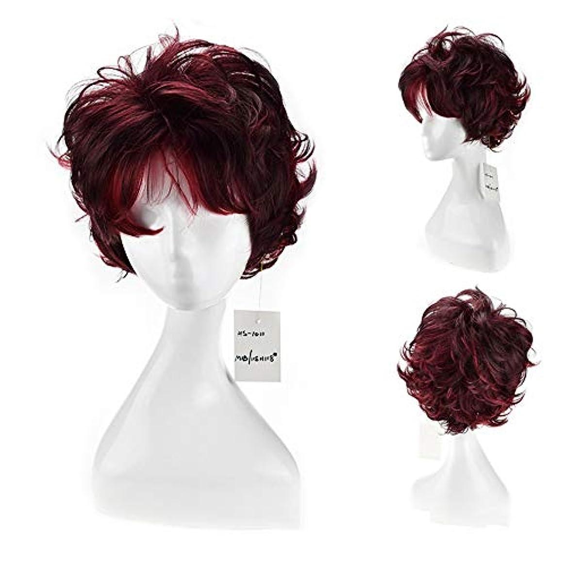 死にかけている地殻歩き回るMayalina 女性の人工毛ショートボブウィッグワインレッドショートカーリーヘアフルヘッド無料キャップパーティーウィッグ (色 : ワインレッド)